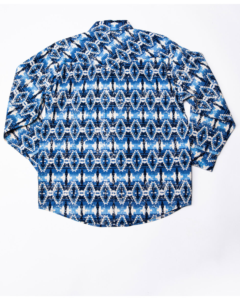 Rock & Roll Cowboy Boys' Poplin Aztec Print Long Sleeve Western Shirt , Blue, hi-res