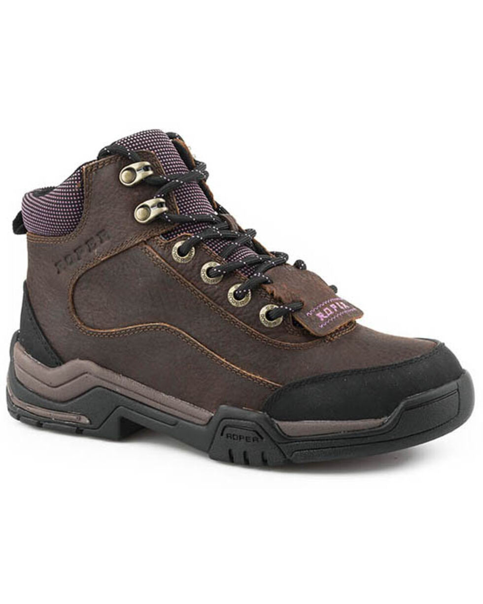 Roper Women's Tumbled Leather Lace-Up Work Boots, Brown, hi-res
