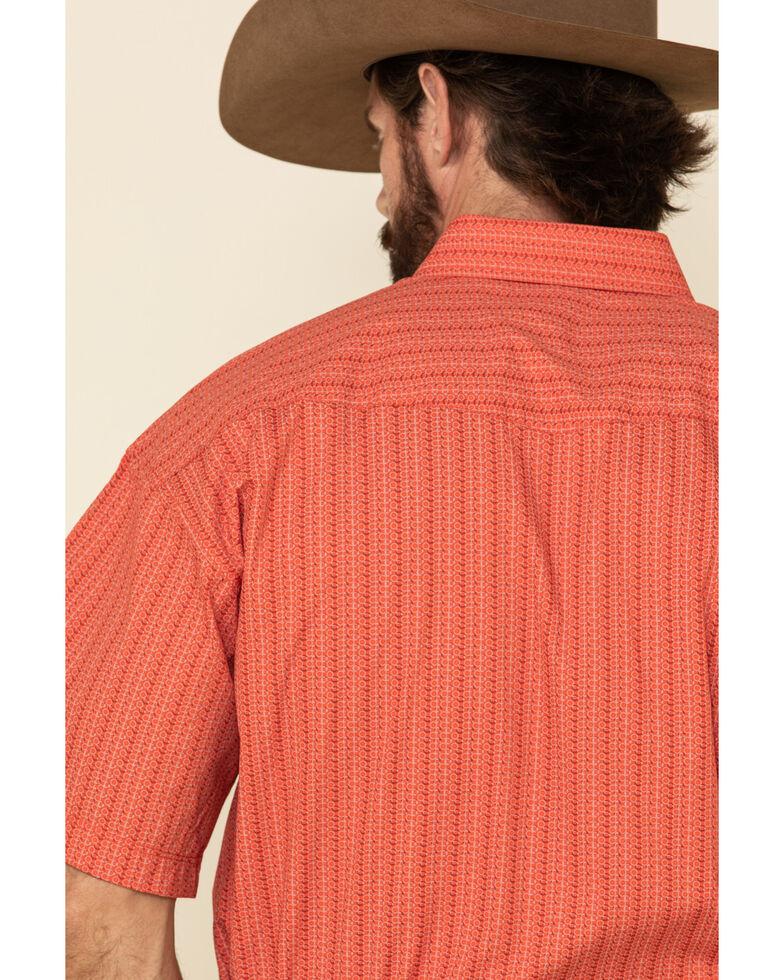 Panhandle Select Men's Orange Small Geo Print Short Sleeve Western Shirt , Orange, hi-res
