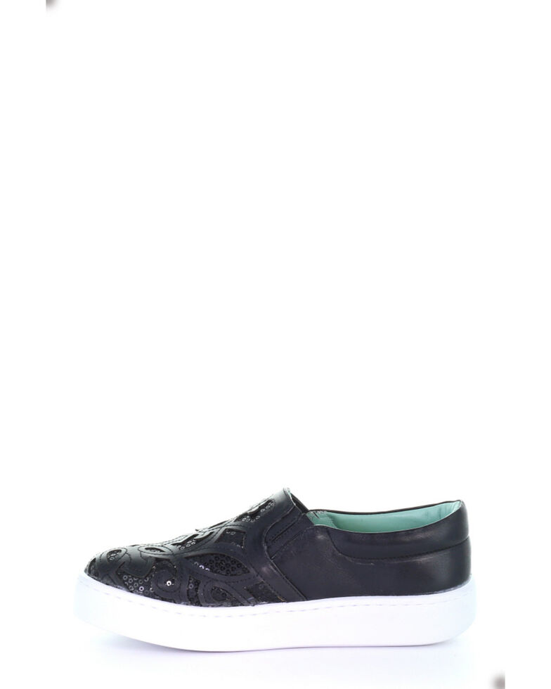 Corral Women's Black Inlay & Embroidery Sneakers, Black, hi-res