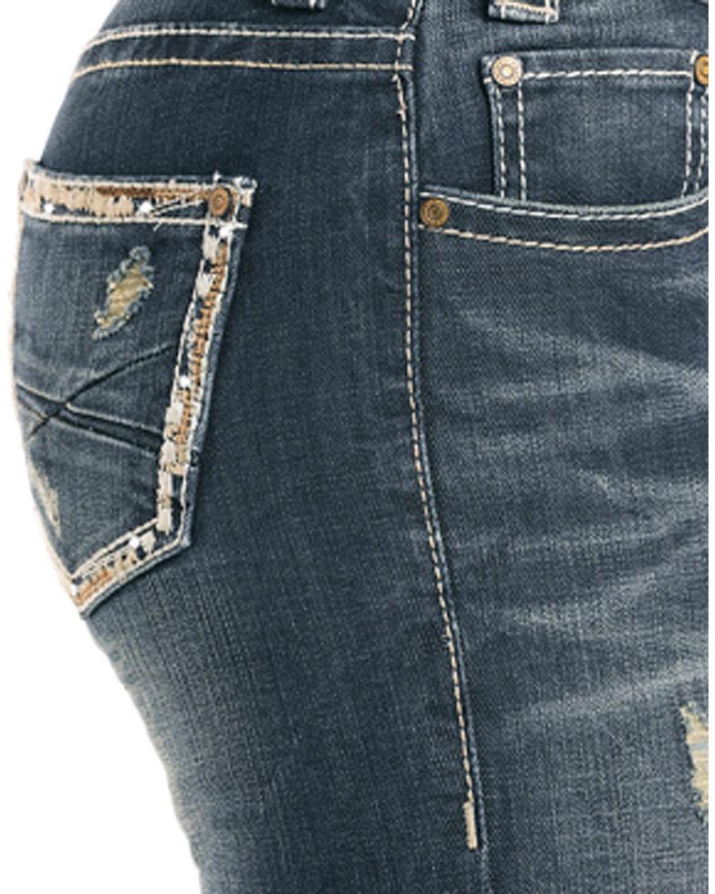 Rock & Roll Cowgirl Women's Pocket Border Boot Cut Jeans , Indigo, hi-res