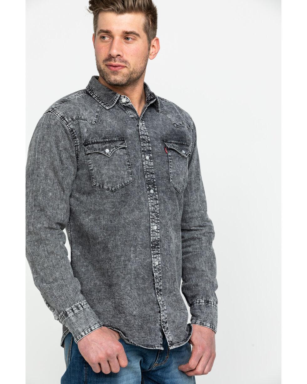Levi's Men's Denim Hunk Snap Long Sleeve Western Shirt , Light Grey, hi-res