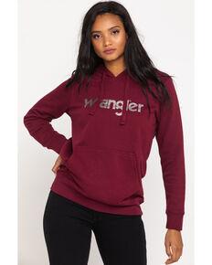 Wrangler Women's Maroon Metallic Logo Hoodie, Maroon, hi-res