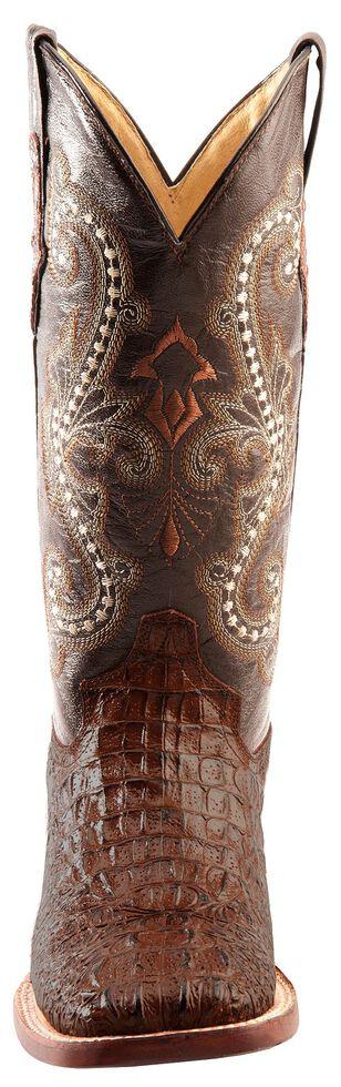 Ferrini Rusty Caiman Print Cowgirl Boots - Wide Square Toe, Rust, hi-res