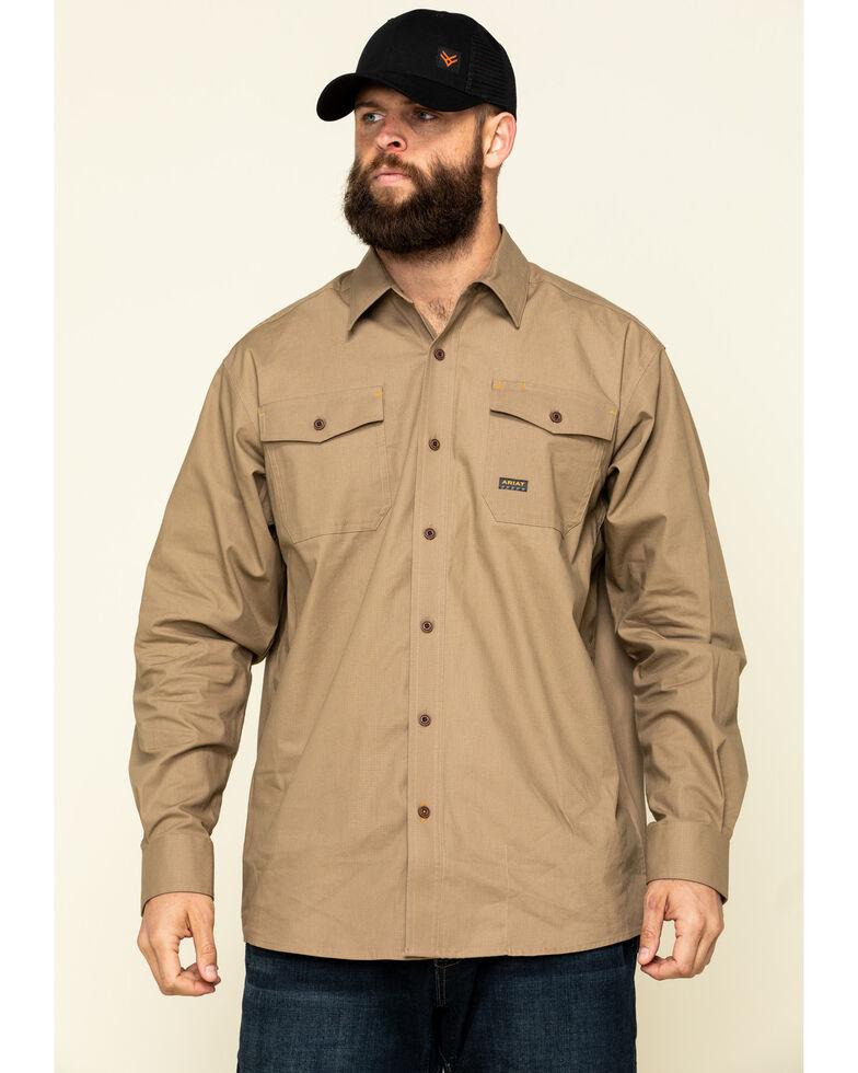 Ariat Men's Khaki Rebar Made Tough Durastretch Long Sleeve Work Shirt - Big , Beige/khaki, hi-res