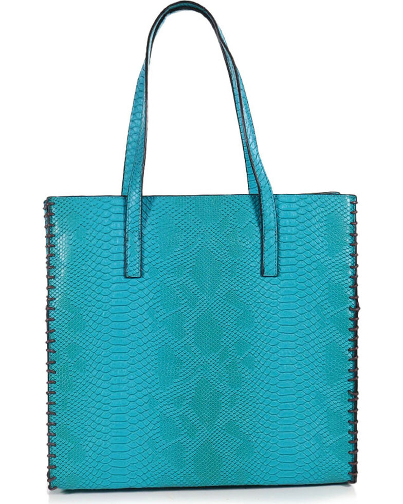 Tyler Rose Women's Turquoise Snakeskin Tote, Turquoise, hi-res