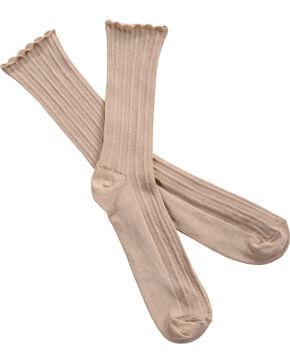 Shyanne Women's Boyfriend Scrunch Tan Crew Socks, Tan, hi-res