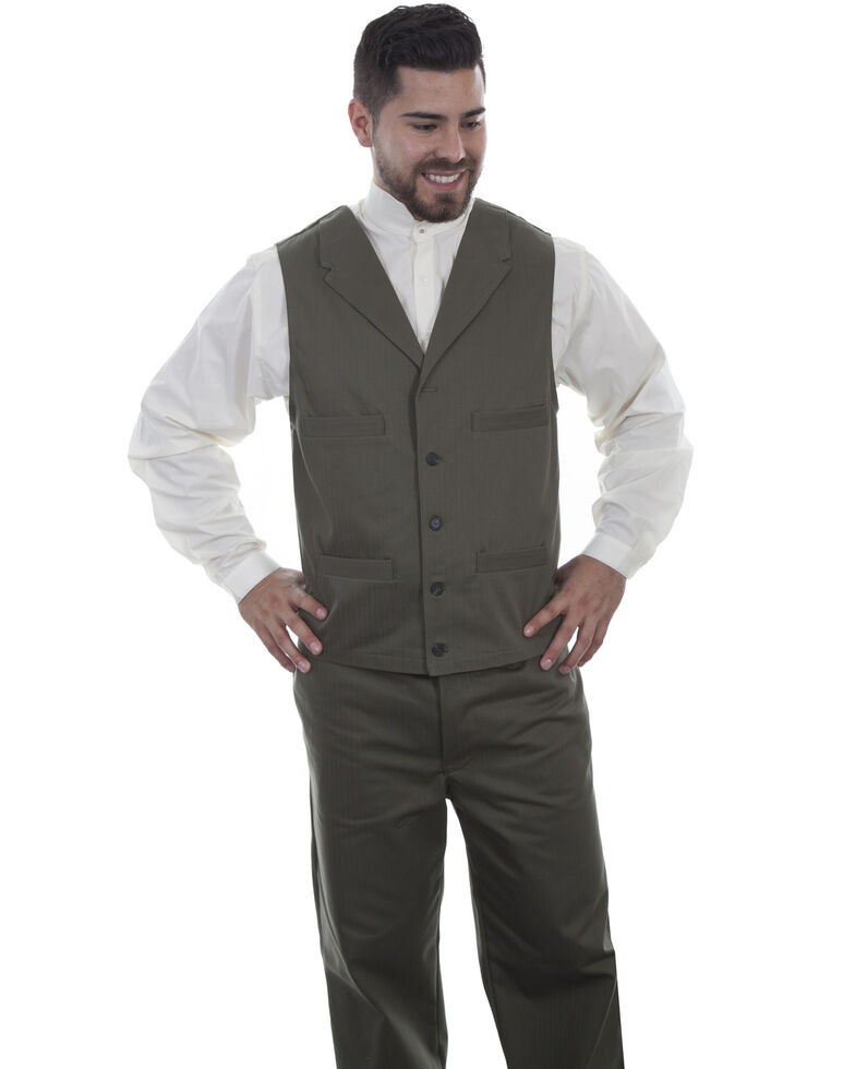 Scully Men's Herringbone Vest, Green, hi-res