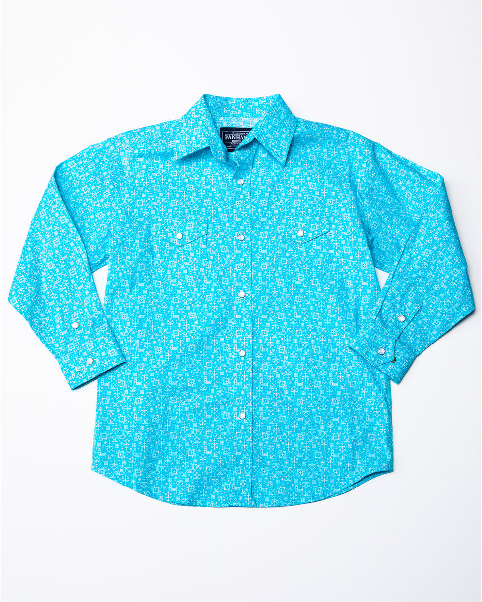Rough Stock By Panhandle Boys' Portero Antique Print Long Sleeve Western Shirt , Turquoise, hi-res