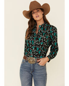 Cowgirl Hardware Women's Black Floral Cactus Print Long Sleeve Western Shirt , Black, hi-res