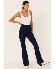 Cello Women's Dark Wash High-Rise Flared Jeans, Dark Blue, hi-res