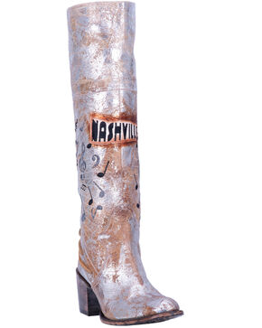 Dan Post Women's Nashville Fringe Lace Western Boots - Medium Toe, Silver, hi-res
