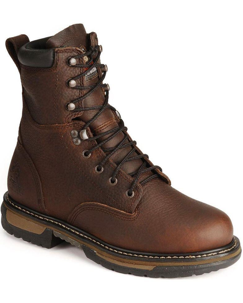 "Rocky 8"" IronClad Waterproof Work Boots - Steel Toe, Bridle Brn, hi-res"