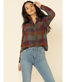 North River Women's Biking Plaid Long Sleeve Western Flannel Shirt , Burgundy, hi-res