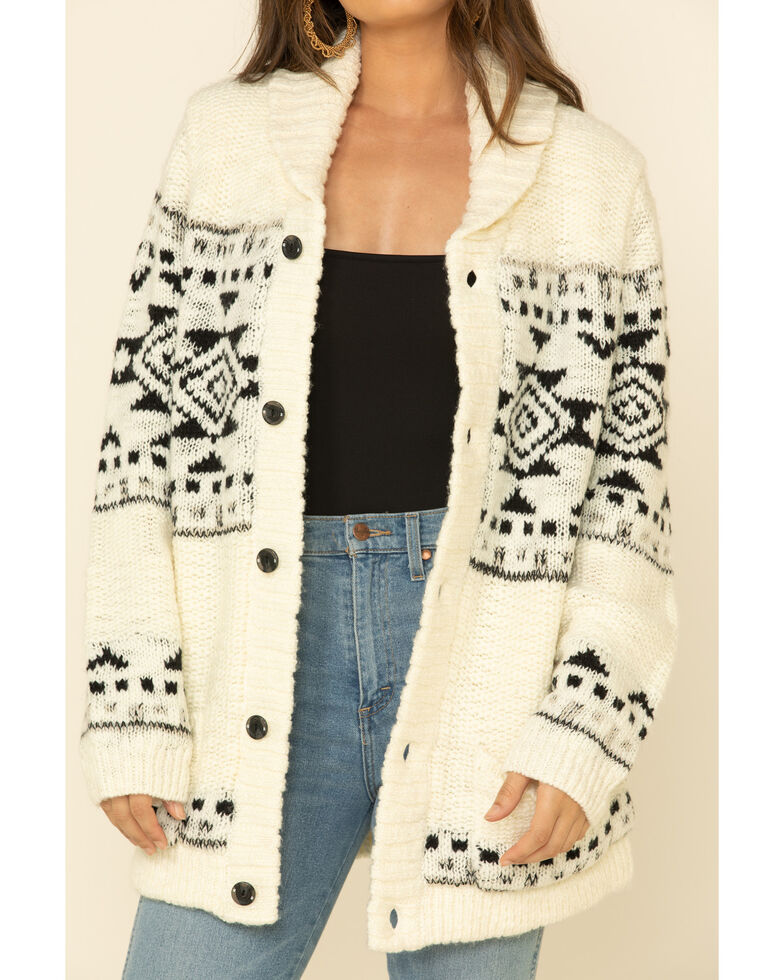STS Ranchwear Women's Cream Aztec Cheyenne Cardigan , Cream, hi-res