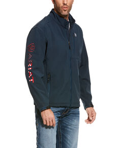 Ariat Men's Blue Logo 2.0 Softshell Zip-Up Jacket - Tall , Blue, hi-res