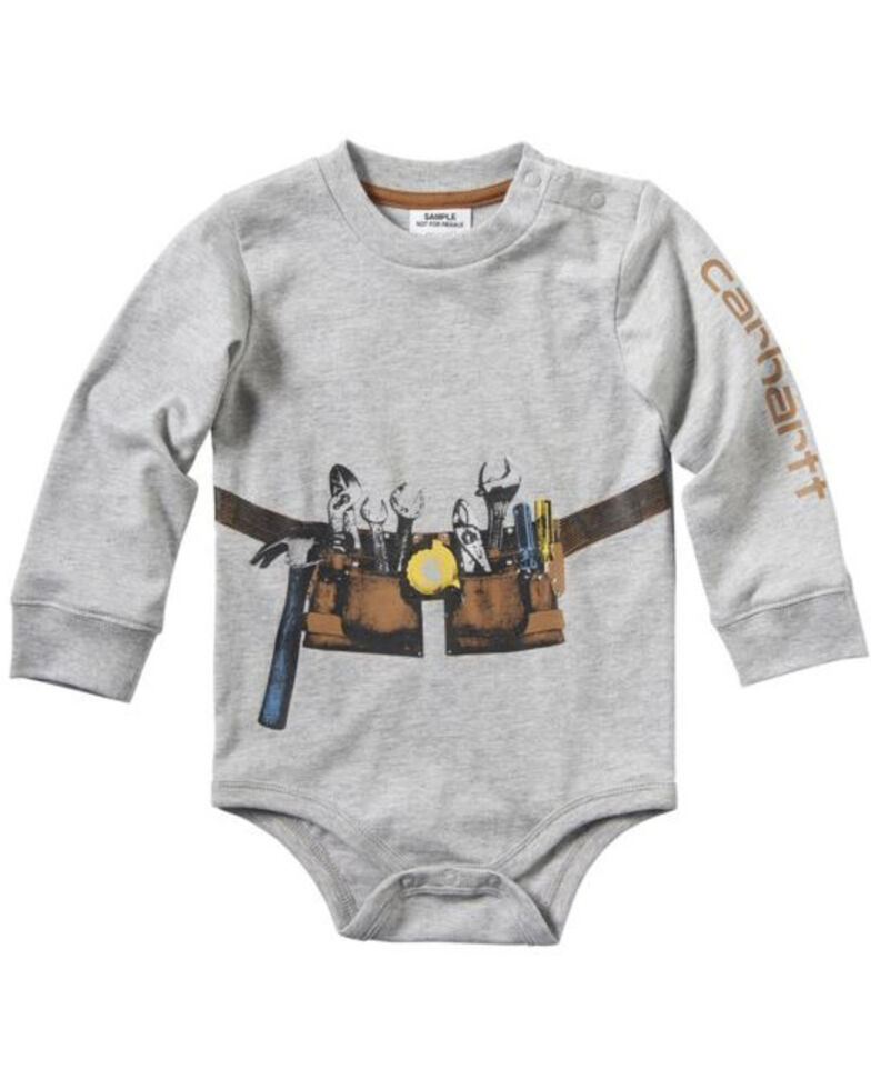 Carhartt Infant Boys' Photoreal Tool Belt Graphic Long Sleeve Body Shirt , Heather Grey, hi-res