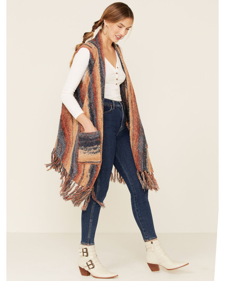 Nostalgia Women's Multi Striped Fringe Sweater Vest, Rust Copper, hi-res