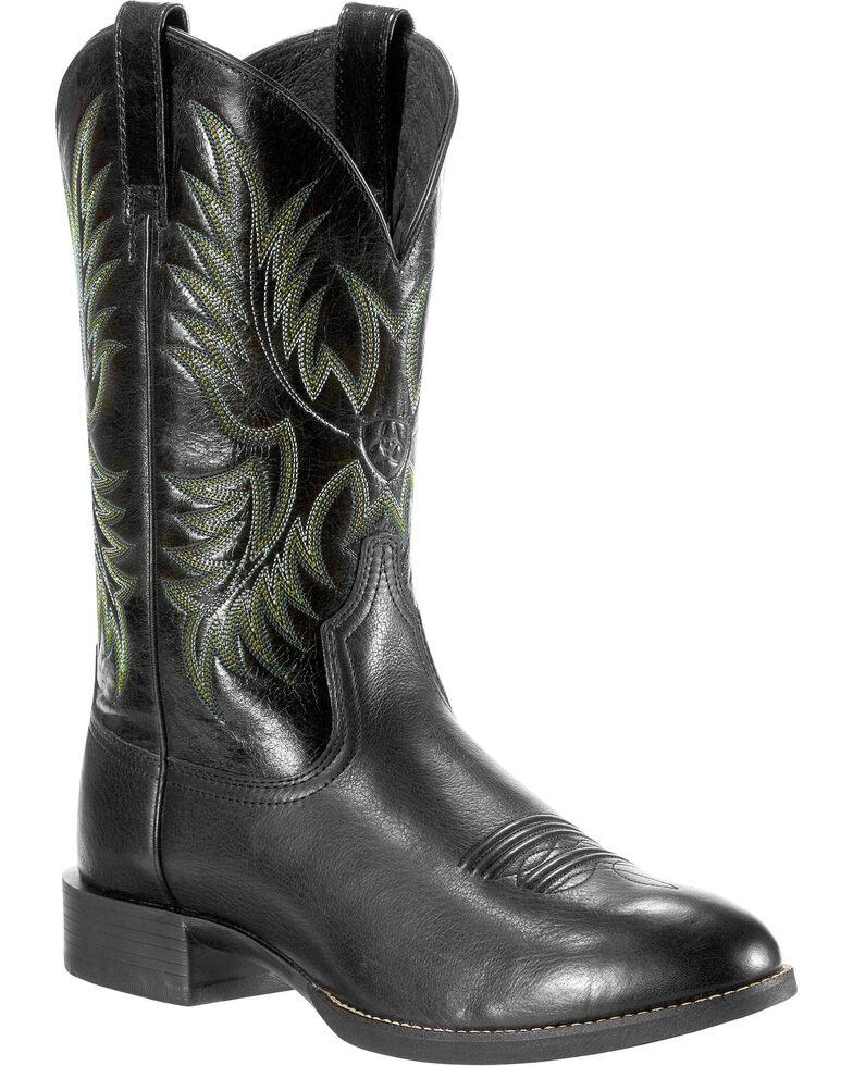 Ariat Men's Heritage Stockman Cowboy Boots - Round Toe, Black, hi-res