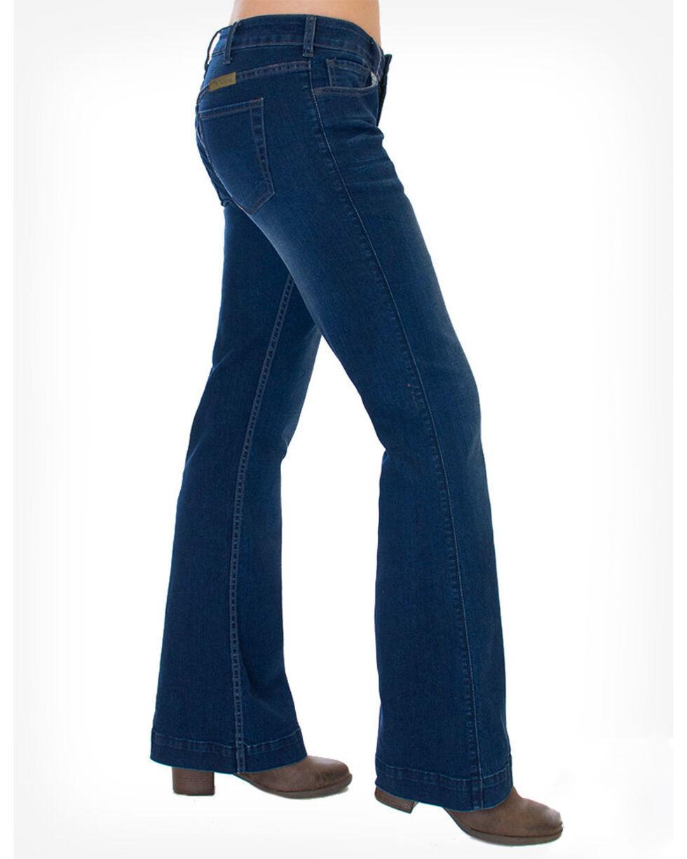 Cowgirl Tuff Women's Dark Wash Just Tuff Trousers, Indigo, hi-res