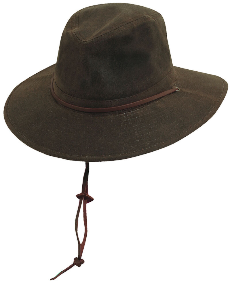 Scala Men's Brown Oil Cloth with Leather Chin Cord Hat, , hi-res