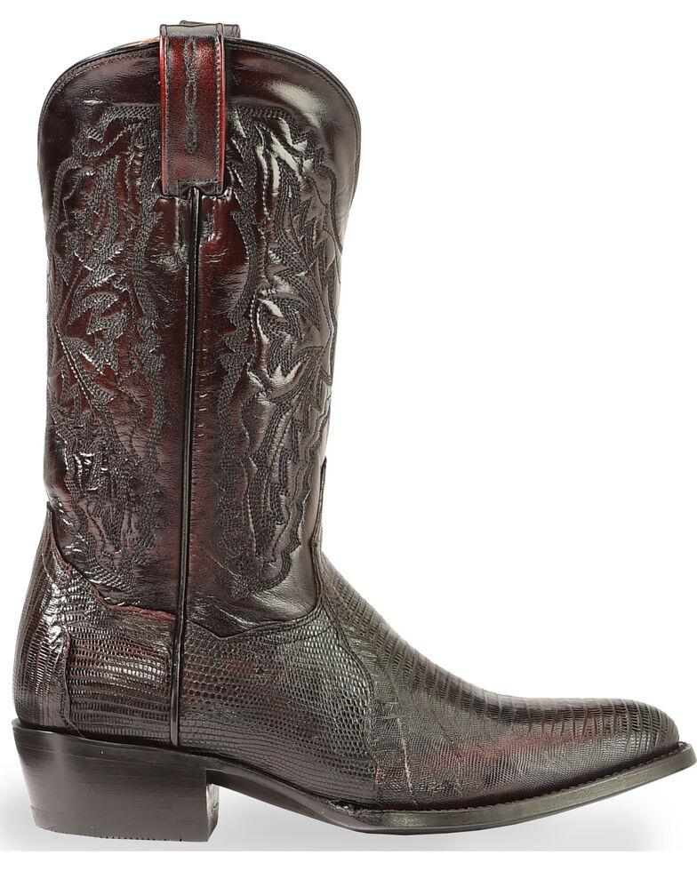 Dan Post Raleigh Lizard Western Boots - Medium Toe, Black Cherry, hi-res