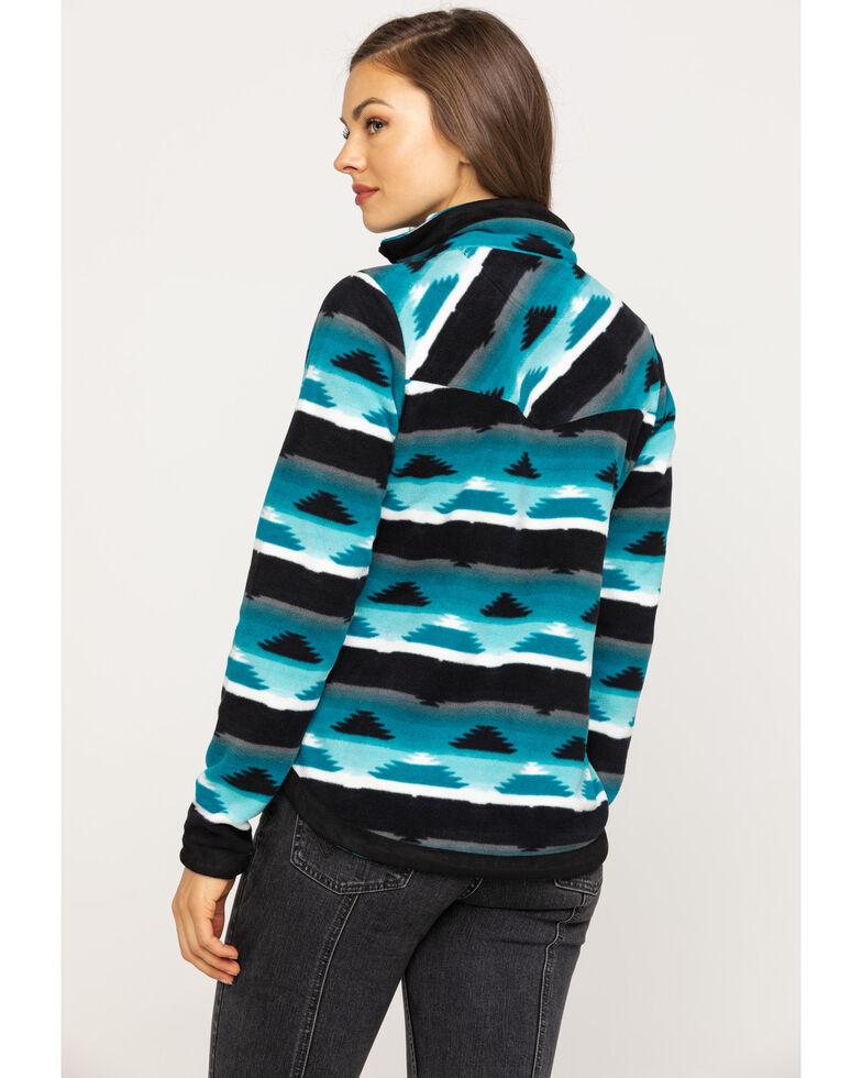 Outback Trading Co. Women's Kate Henley Aztec Fleece Jacket, Turquoise, hi-res