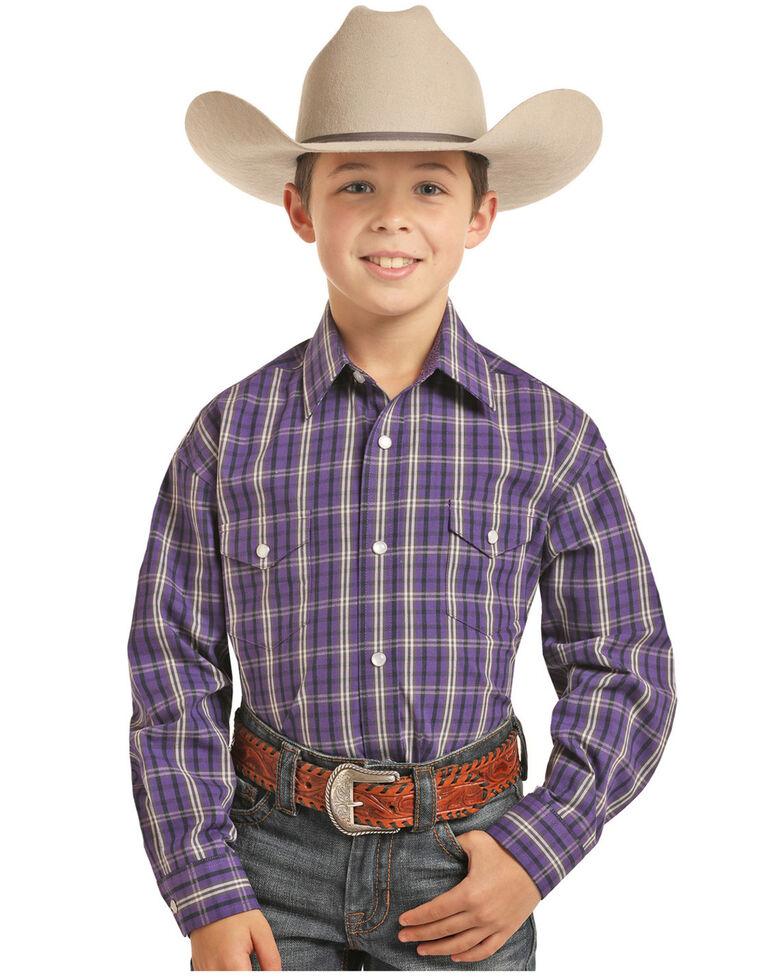 Panhandle Select Boys' Purple Yarn Dye Plaid Long Sleeve Western Shirt , Purple, hi-res