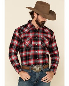Ely Walker Men's Red Plaid Long Sleeve Western Flannel Shirt , Red, hi-res