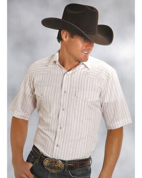 Roper Men's Classic Tone On Tone Western Shirt - Big & Tall, White, hi-res