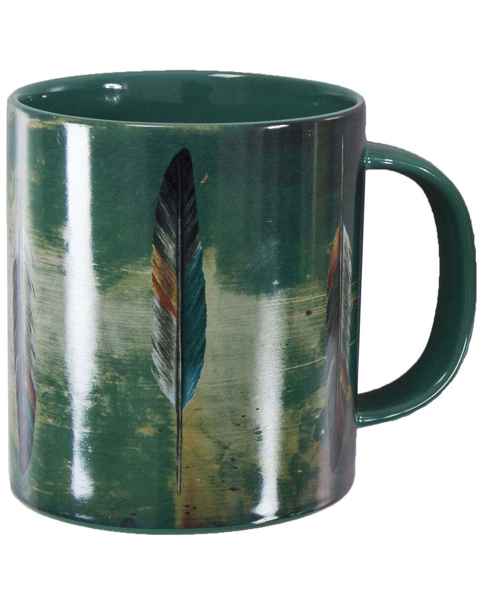 HiEnd Accents Tossed Feather Design Mug Set, Turquoise, hi-res