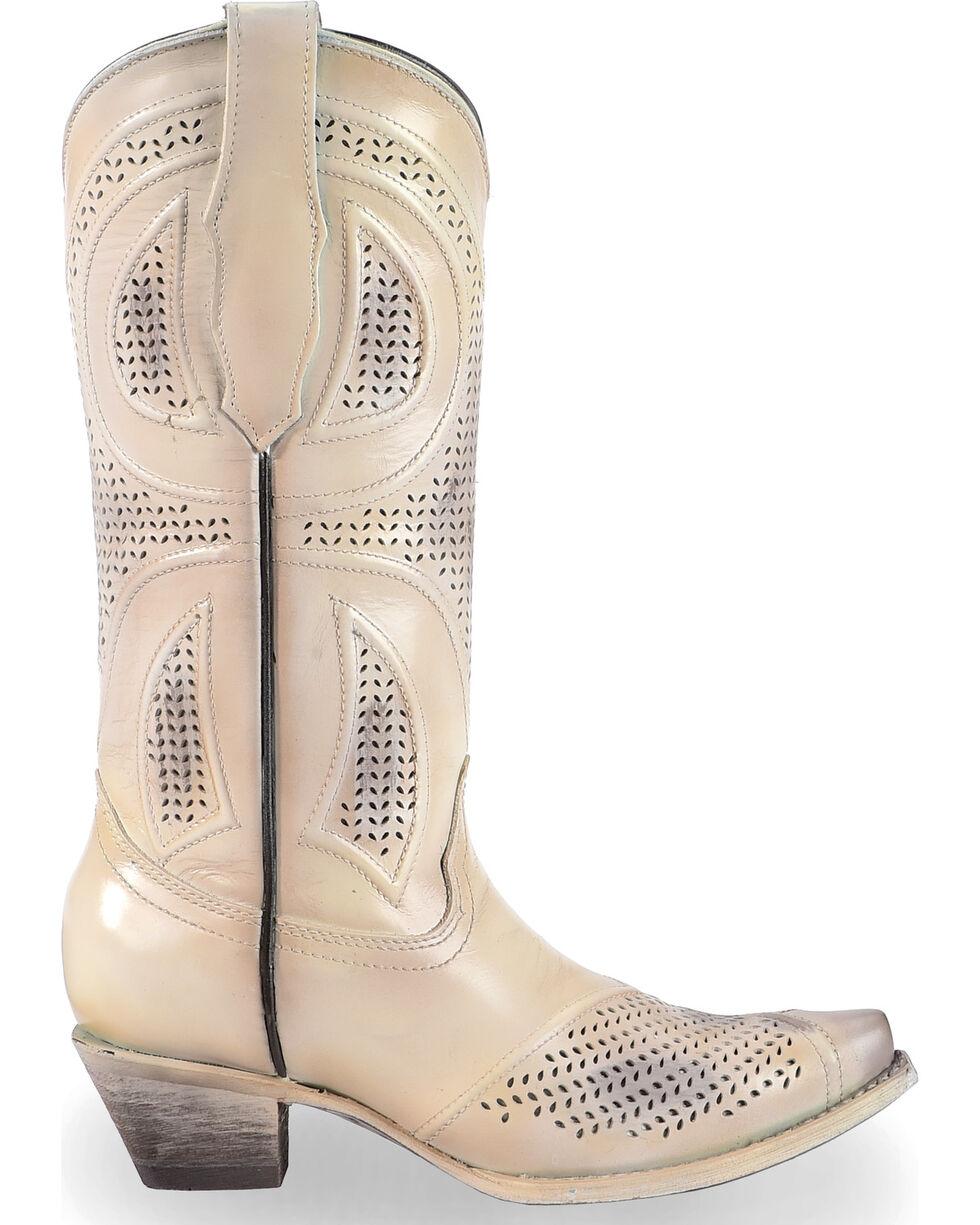 Corral Women's Laser Cut Wedding Boots - Snip Toe, Beige/khaki, hi-res