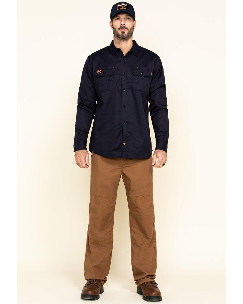 Hawx Men's Navy FR Long Sleeve Woven Work Shirt - Tall , Navy, hi-res