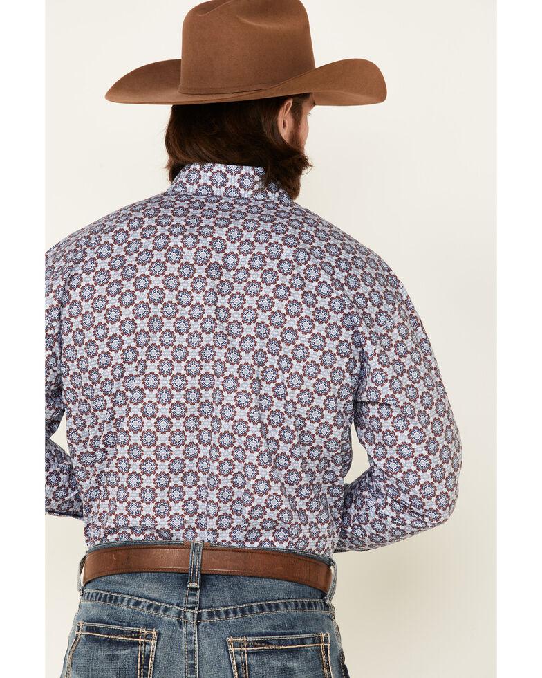 George Strait By Wrangler Men's Medallion Geo Print Long Sleeve Snap Western Shirt - Tall, Blue, hi-res