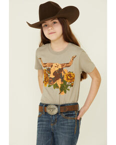 Rodeo Quincy Girls' Libby Longhorn Graphic Short Sleeve Ringer Tee, , hi-res
