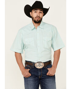 Wrangler 20X Men's Teal Small Plaid Short Sleeve Snap Western Shirt , Teal, hi-res
