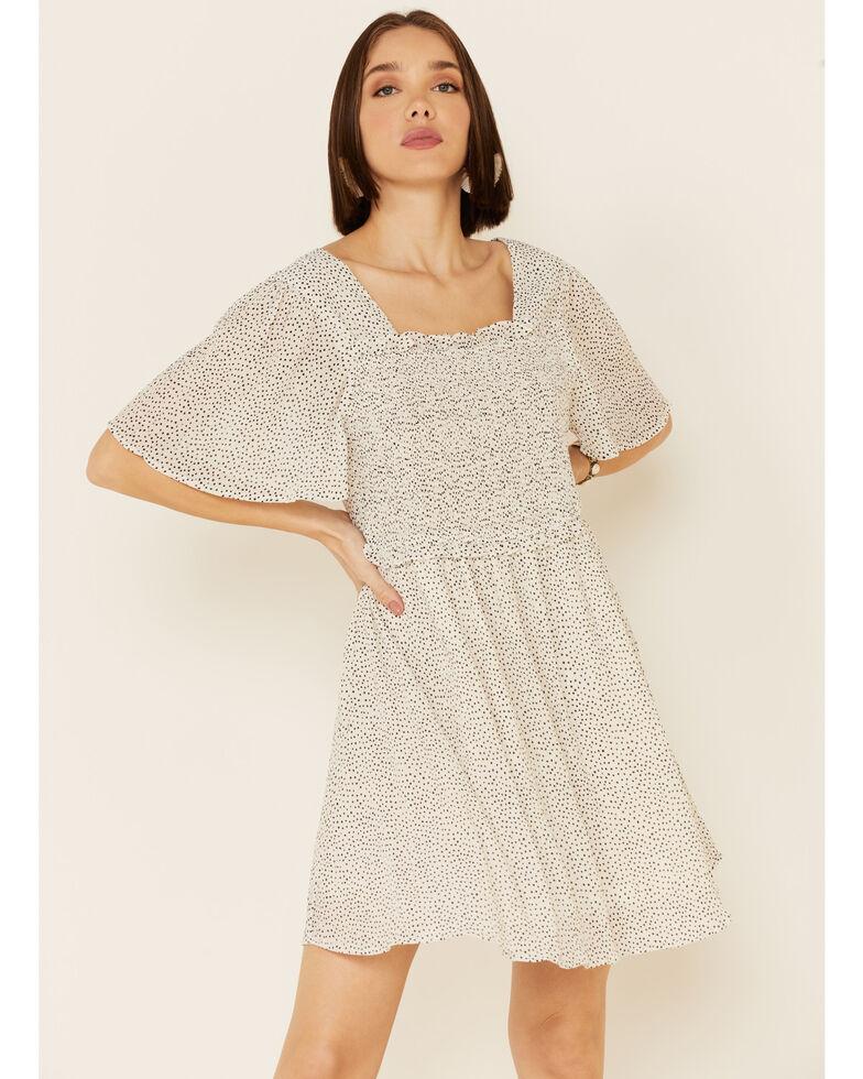 Very J Women's Flutter Sleeve Polka Dot Print Dress, White, hi-res