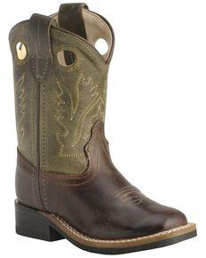 Old West Toddler Boys' Stitched Olive Cowboy Boots - Square Toe, Barnwood, hi-res