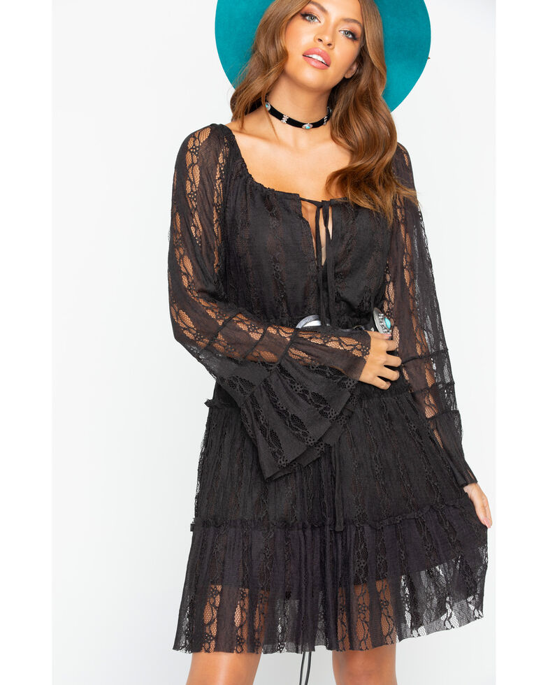 e35b130e Zoomed Image Scully Women's Western Lace Tiered Dress , Brown, hi-res