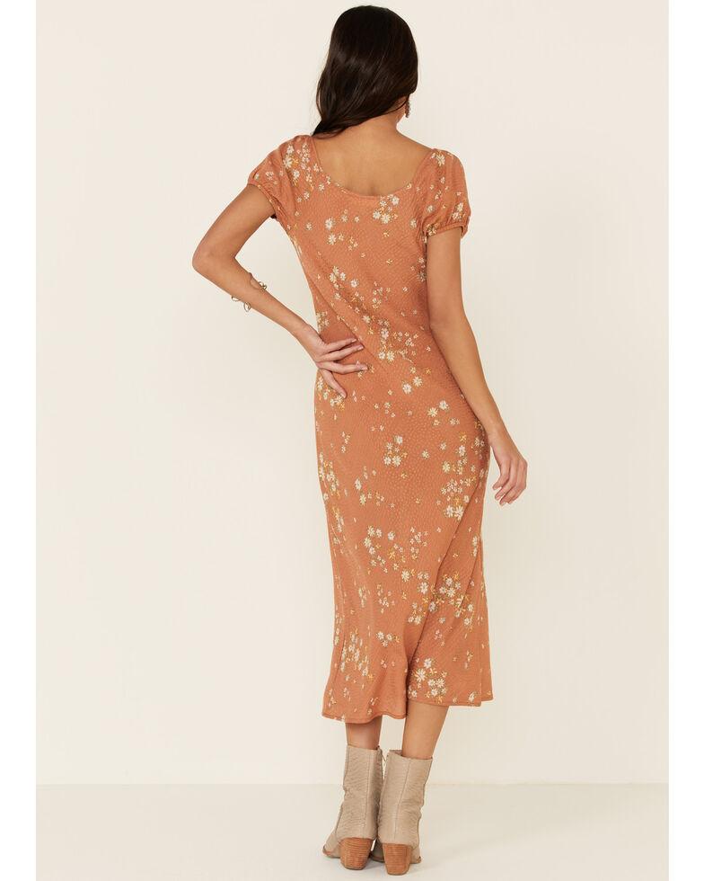 Nikki Erin Women's Blush Floral Dobby Peasant Midi Dress, Blush, hi-res