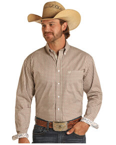 Rough Stock By Panhandle Men's Khaki Stretch Small Geo Print Long Sleeve Button-Down Western Shirt , Beige/khaki, hi-res