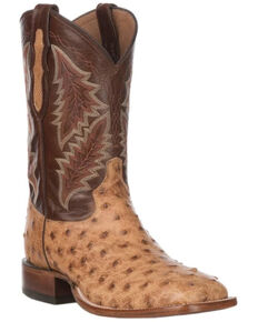 Tony Lama Men's Magnar Exotic Ostrich Western Boots - Wide Square Toe, Brown, hi-res