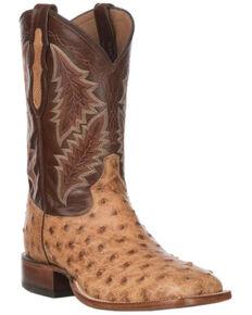 Tony Lama Men's Magnar Exotic Ostrich Western Boots - Wide Square Toe, Brown, hi-res