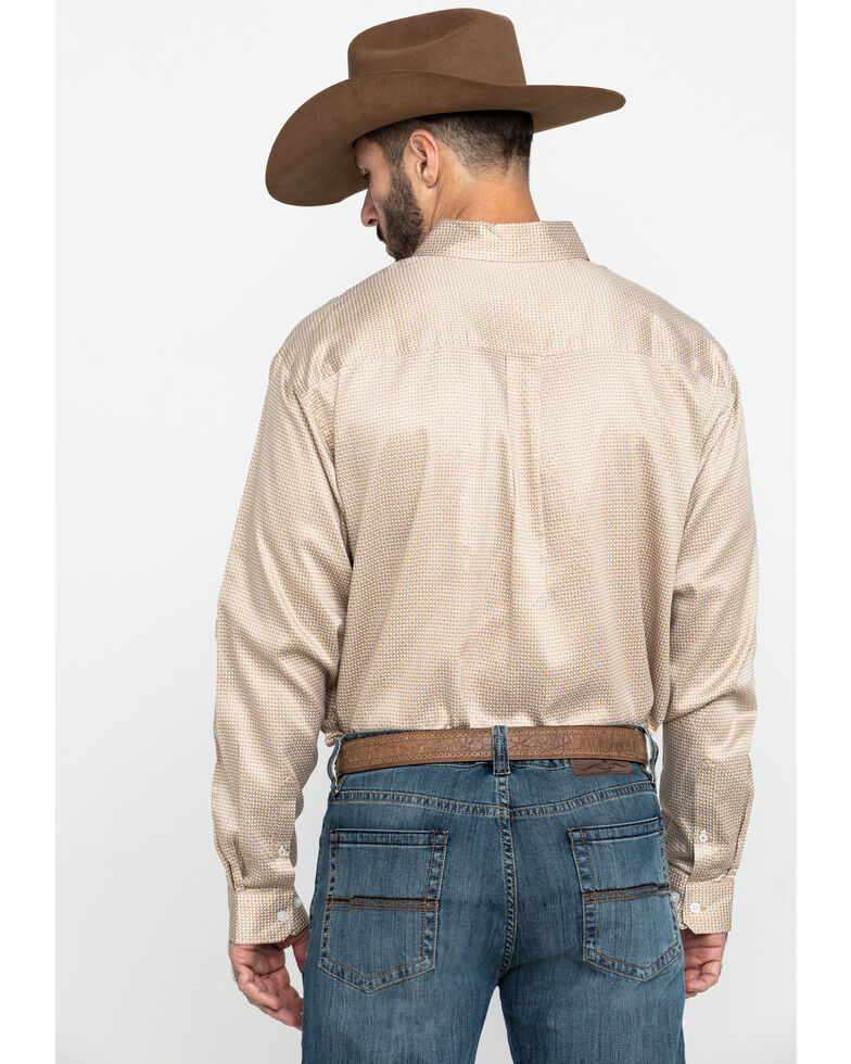 Cinch Men's Tencel Khaki Geo Print Long Sleeve Western Shirt , Beige/khaki, hi-res