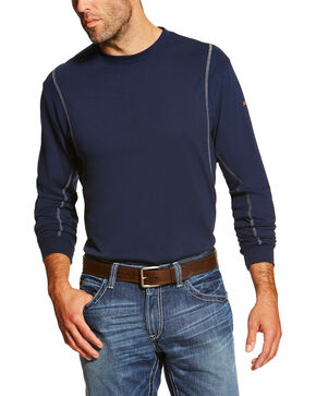 Ariat Men's Navy FR Crew Neck Long Sleeve Shirt, Navy, hi-res