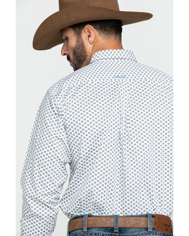 Ariat Men's Halifax Stretch Geo Print Fitted Long Sleeve Western Shirt , White, hi-res