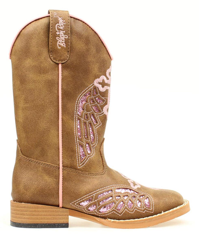 Blazin Roxx Girls' Gracie Wings and Cross Inlay Boots, Brown, hi-res