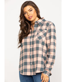 Wrangler Women's Dark Slate Flannel Button Shirt, Pink, hi-res