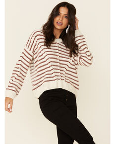 Angie Women's Ivory Striped Sweater , Ivory, hi-res