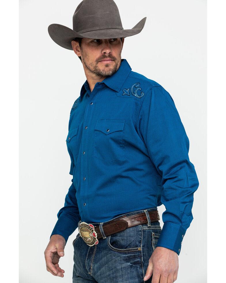 Wrangler Men's Blue Silver Edition Solid Long Sleeve Western Shirt , Blue, hi-res